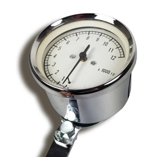 Classic Chromdrehzahlmesser mechanisch für fast alle Honda- Suzuki- und Yamaha-Modelle (Halter nicht im Lieferumfang enthalten)