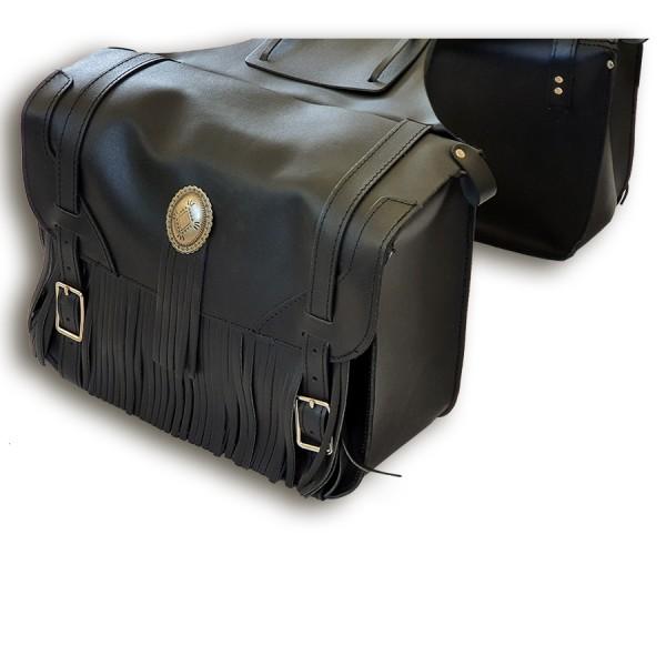 Satteltaschen Big mit Conchos und Fransen aus echtem Leder