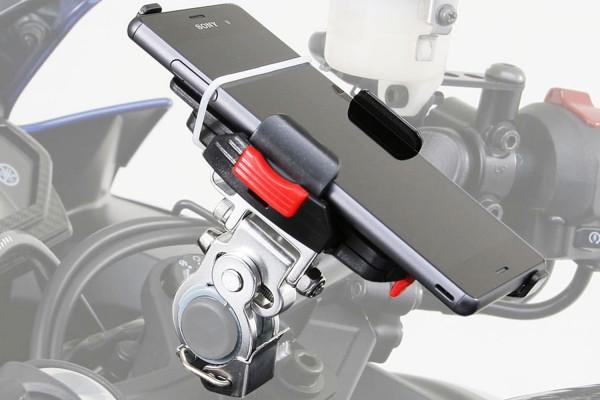 Smartphonehalter abnehmbar für 22-29 mm Lenkerdurchmesser mit Klemmbügel Montagebeispiel