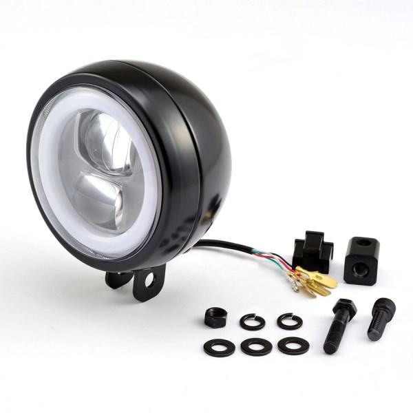 LED Scheinwerfer mit rundem Tagfahrlicht mit nur 120 mm und e-Prüfzeichen, Befestigung unten