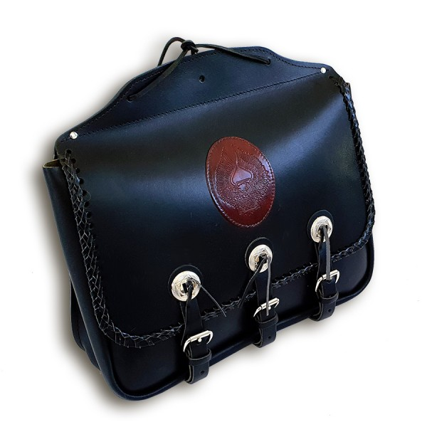 Satteltasche Studded Bag aus echtem Leder mit Applikationen