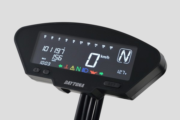 DEVA Multifunktionscockpit schwarz mit Tacho, Drehzahlmesser, Ganganzeige, Uhr, LEDs