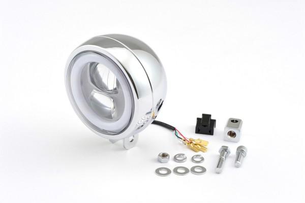LED Scheinwerfer chrom mit rundem Tagfahrlicht und 120 mm und e-Prüfzeichen, Befestigung unten